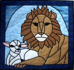 Enlarge    Sell one like this    LION & LAMB ~ Stained Glass QUILT PATTERN