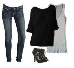 •Skinny Jeans (Cuffed) + Long Tank Top + Slouchy Sweater + Peep-toe Booties