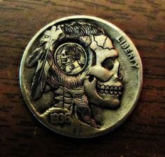 1936-Indian-Skull-Hobo-Nickel-With-Mini-Skull-Coin-Inlay-By-JB-264