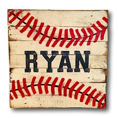 Baseball Sign / Vintage Wood Sports Sign / Boys Bedroom Decor