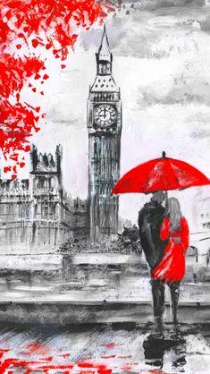 Amazing Drawings, Art Drawings, London Painting, Umbrella Art, Charcoal Art, Art For Art Sake, Background Vintage, London Art, Acrylic Art