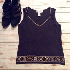 "Joseph A Embellished Top Size Medium 🌹Host Pick for the Style Staples Party 10-9-16 Chosen by @skeeterposh ❤️ Host Pick for the Minimalist Chic Party 1-18-16 Chosen by @cmsblaz ❤️ Joseph A Black Embellished Top Size Medium. Material: 57% Viscose, 23% Nylon, 20% Polyester. Hand Wash in Cold Water. Mannequin is a 36-24-36. Measurements laying flat: Bust 17"", Length 22"". 🚫No Trades, PayPal or Lowball Offers🚫 Joseph A  Tops Tank Tops"