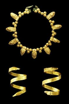 Etruscan sheet gold funerary set. Circa 5th-4th Century BC.