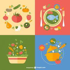 Healthy Meals Designs Free Vector