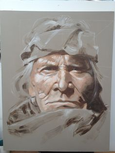 Acrylic on canvas from Monotone photograph by Edward S Curtis,