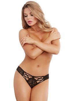 Dreamgirl black stretch lace strappy panties