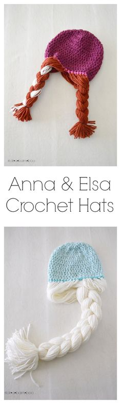 Free Anna & Elsa crochet hat patterns.