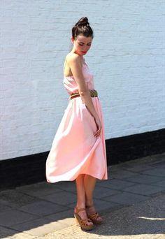 Vintage Strappy Pink Midi Dress