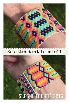Manchette façon bracelet bresilien en tissage peyote SLeGuillou