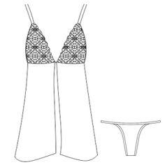 Patronaje industrial: patrones moldes ropa para marcas líderes Ropa de noche 2841 DAMA Ropa Interior