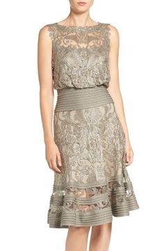 Tadashi Shoji Mixed Media Blouson Dress available at #Nordstrom