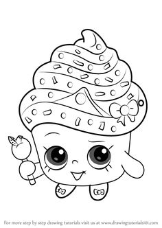 How to Draw Cupcake Queen from Shopkins - DrawingTutorials101.com