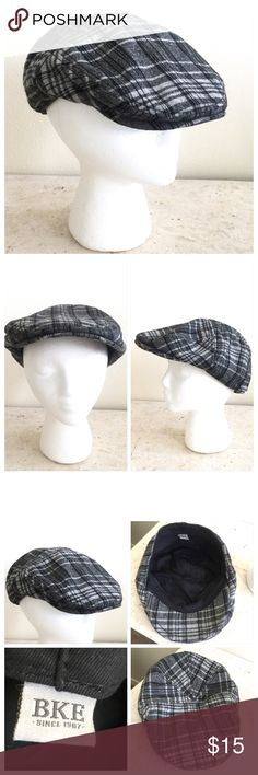 BKE Unisex Newsboy Plaid Gatsby Cap BKE Unisex Newsboy Plaid Gatsby Cap. Viscose, wool and wool blend. Fits Size M/L. Barely worn and in excellent condition! Gray with black contrasting stripes. All my items are from a smoke free environment. Thank you for stopping by!! BKE Accessories Hats