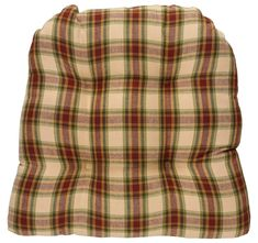 Cinnamon plaid pattern tufted cotton chair pad (chair cushion) from Park Designs.