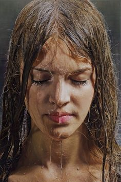 """Bless"" (series) - Philipp Weber (German, b. 1974), oil on linen, 2012 {figurative realism art female head dripping water #hyperreal woman painting #loveart} philippweber.com"