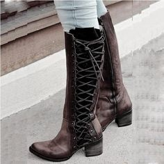 Women Vintage Lace Up Boots European Style Zipper And Lace Above Knee Boots - Dark Brown / size Chunky Heel Shoes, Chunky High Heels, Vintage Boots, Vintage Lace, Short Winter Boots, Fall Boots, Above Knee Boots, Punk Shoes, Buckle Ankle Boots