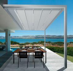 Terrassenfaltdach Leiner Pergola Sunrain Q Das Terrassendach Pergola Sunrain Q des Herstellers LEINER erfüllt alle Anforderungen in Sachen Design und Wetterschutz: Das kubische Rahmengestell harmoniert mit jedem modernen Gebäude.