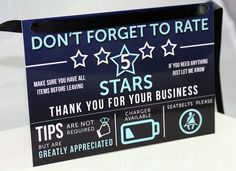 Uber Lyft Rating and Tip Sign for Uber by LouisvilleMarketing