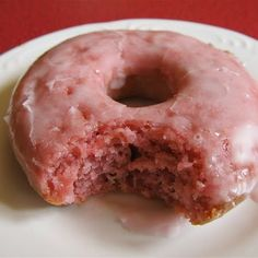 Baked Strawberry Donuts - gotta try these...but don't have a donut pan...I'm thinking foil & muffin tins...