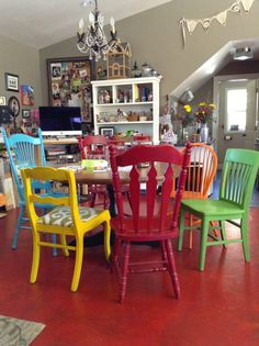 Black Sheep Woolens: Changes At Black Sheep Studio Painted Dining Chairs, Mismatched Dining Chairs, Painted Furniture, Mexican Kitchen Decor, Traditional Dining Chairs, Colorful Chairs, Eclectic Decor, Room Chairs, Furniture Making