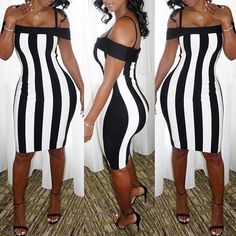 Stylish Striped Bodycon Slip Dress