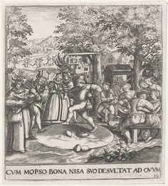 Johann Theodor de Bry | Eierdans, Johann Theodor de Bry, Anonymous, Maerten de Vos, 1596 | Bij een herberg vindt een feest plaats. Een doedelzakspeler en twee muzikanten die keukenattributen bespelen maken muziek. In het midden danst een man de eierdans. Bij deze dans moet de speler proberen eieren, zonder ze te breken, uit een bepaalde kring te werken met zijn voeten.