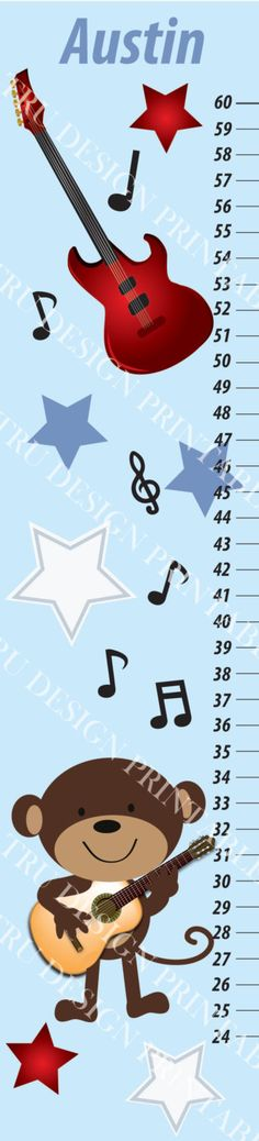 Items similar to Rockstar Monkey Kids Growth Chart on Etsy Baby Boy Rooms, Baby Boy Nurseries, Baby Room, Nursery Themes, Themed Nursery, Nursery Ideas, Flag Banners, Creative Design, First Birthdays