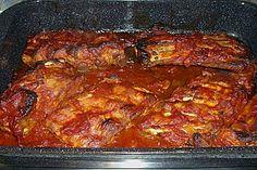 Spareribs for fingering - Fleisch aus dem Ofen - Homemade Burgers Barbecue Sauce Recipes, Grilling Recipes, Pork Recipes, Smoked Beef Brisket, Smoked Pork, Pork Afritada Recipe, Chicken Fajitas Calories, Best Fajita Recipe, Homemade Burgers