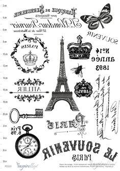 PARIS Elektroniczny papier decoupage: GRAFIKI VINTAGE - ODBICIE LUSTRZANE
