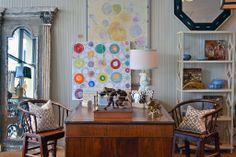 Colorful #art brightens up this #office #vignette at #Dallas #Mecox #interiordesign #furniture #desk #boxing #decor #lamp #shopping #MecoxGardens #home #design #room #designidea #vintage #antiques #garden