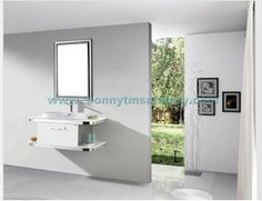 D-8401 Glossy white Stylished free standing stainless steel bathroom cabinet
