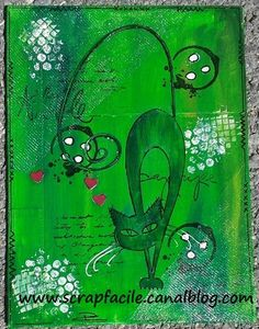 chat vert 2 Scrap, Night, Green, Artwork, How To Make, Kitty Cats, Work Of Art, Auguste Rodin Artwork, Scrap Material