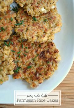 Parmesan Rice Cakes- a delicious recipe to use up leftover rice.