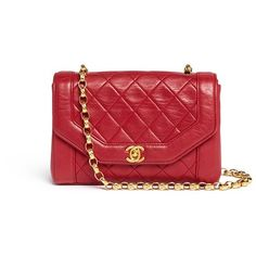 What Goes Around Comes Around Vintage Chanel quilted leather shoulder... ($4,685) ❤ liked on Polyvore featuring bags, handbags, shoulder bags, red, red purse, chain handle handbags, chain strap purse, quilted leather purse and quilted handbags
