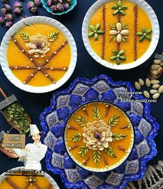 🔴🔴🔴 IRANIAN food (Shole Zard is a kind of sweet soup made by rice, _ in Iran, there is more than 50 kind of soups in different colors & tastes _) in beautiful Iranian dishes (completely han Persian Desserts, Halva Recipe, Iranian Dishes, Afghan Food Recipes, Iran Food, Kinds Of Soup, Sweet Soup, Food Garnishes, Garnishing