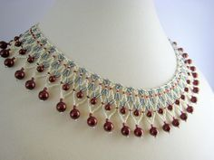 Burgundy Cream Collar Necklace by BeadfulStrings on DeviantArt
