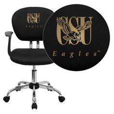 Flash Furniture Coppin State University Eagles Embroidered Black Mesh Task Chair with Arms and Chrome Base