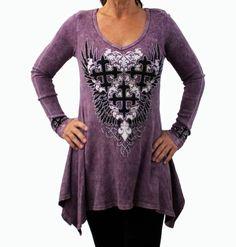 Vocal Women's Tunic Top Plum Long Sleeve Iron Crosses Rhinestones Blingy Shirt #Vocal #BatWingLongShirt #Casual