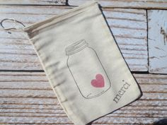 25 Hand stamped muslin favor bags  5X7 jar by ChiliAndPeachesAmore, $23.00