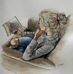 Curl up with a book Book Drawing, Painting & Drawing, Watercolor Paintings, Digital Art Girl, Jolie Photo, Art Drawings Sketches, Art And Illustration, Anime Art Girl, Portrait Art