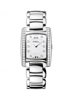 Ebel Brasilia Ladies Diamond Mother-Of-Pearl Watch 9976m28/9810500 1215607 - Ebel watches style - Ladies , Watch Collection - Brasilia, Ebel Model # - 9976m28/9810500 #1215607 watch, Movement - Quartz, Bracelet/Strap - Stainless steel, Case - Stainless steel, Dial - Mother of pearl, Bezel - Diamond, Numerals - 10 diamond hour markers, Case Diameter - 23.7 mm, Crystal - Sc...