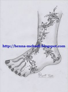 Great Collection of 400+ Hand Drawn Henna (Mehndi) Designs: Henna (Mehndi) design for legs (feet)
