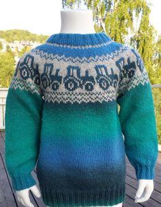 Oppskrift traktorgenser i kauni pdf-fil ti Knitting Patterns Boys, Baby Cardigan Knitting Pattern, Knitting Designs, Baby Knitting, Knit Slippers Free Pattern, Knitted Slippers, Boys Sweaters, Winter Sweaters, Pinterest Baby