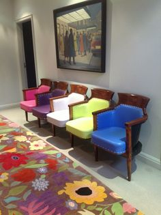 Old theatre chairs......with a colourful twist