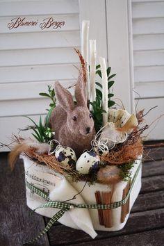 :::: Osterhasen im Naturnest :::: durch :::::::: Blumerei Berger :::::::::::::  #berger #blumerei #durch #naturnest #osterhasen Happy Easter, Easter Bunny, Easter Eggs, Easter Table Decorations, Flower Decorations, Diy Osterschmuck, Birdhouse Craft, Flower Pot Crafts, Easter Party