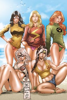 Marvel women at the beach (left to right) Standing: Spider-Woman, Ms. Marvel, Jean Grey Sitting: Black Cat, Rogue