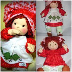 Handmade Strawberry Shortcake jointed waldorf baby doll