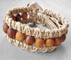 Pulsera brazalete de cáñamo - abalorios pulsera tejida Macrame con marrón olivo