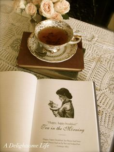 Tea with Jane Austen. This picture is almost too sweet, like tea with too much sugar!