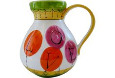 Raymor Love Pitcher - Vintage Italian ceramic pitcher, circa 1960, by Raymor. Bright balloons spell Love. Signed on underside.